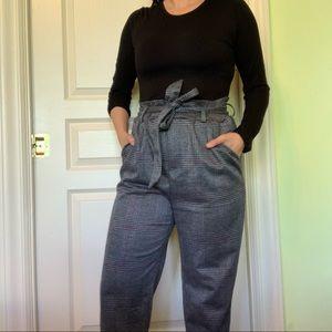 Grey paper bag waist pants